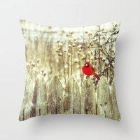 cardinal Throw Pillows featuring cardinal by Bonnie Jakobsen-Martin