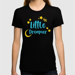 Little Dreamer, Moon, Shooting Star - Blue Yellow T-shirt