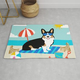Tri Corgi Sandcastles Summer Beach Day sun corgi art tricolored corgi dog Rug