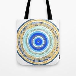 Turquoise Evil Eye Mandala Tote Bag