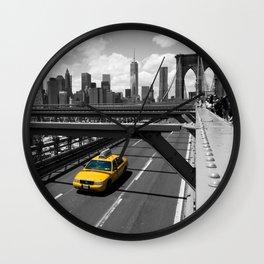 Yellow Cab on Brooklyn Bridge Wall Clock