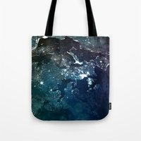 europe Tote Bags featuring Europe UpsideDown by Marco Bagni