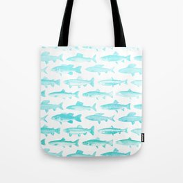 Fishes - Simple pattern in aqua on clear white Tote Bag