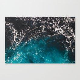 Wavy foamy blue black ombre sea water Canvas Print