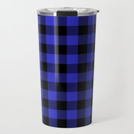 Jumbo Cornflower Blue and Black Rustic Cowboy Cabin Buffalo Check Travel Mug