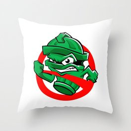 Cartoon Green trash can Throw Pillow