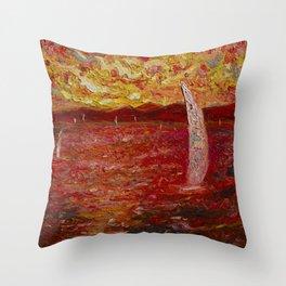 Garda Lake in Pink Throw Pillow