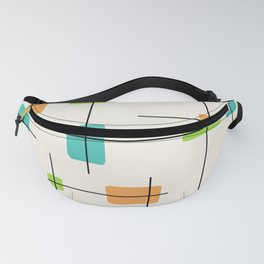 Rounded Rectangles And Squares Orange Turquoise Chartreuse Fanny Pack