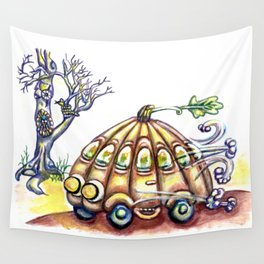 Punky Pumpkin Car for fast safe Halloween Carpool Trick or Treating Wall Tapestry