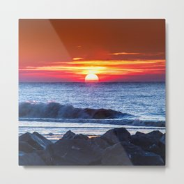 Sunset and a wave Metal Print