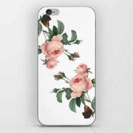 Butterflies in the Rose Garden on White iPhone Skin