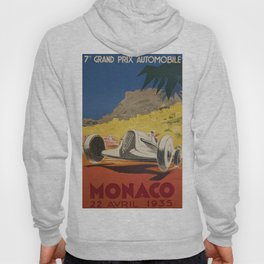 Vintage 1934 White Deco Monaco Grand Prix Car Advertisement Poster by Geo Ham Hoody
