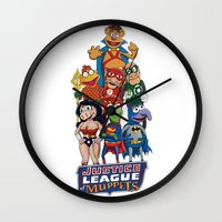 justice league Wall Clocks featuring Justice League of Muppets by JoshEssel