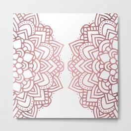 Modern geometric white rose faux gold floral mandala Metal Print