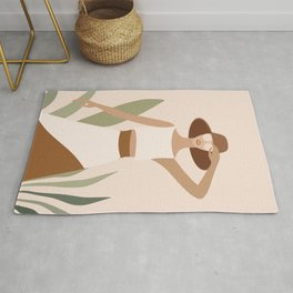 Mid Century Modern Tropical Summer Woman I Rug