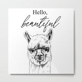 Hello, Beautiful Alpaca Sketch Metal Print