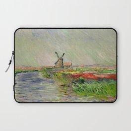 "Claude Monet ""Tulip field in Holland (Champ de tulipes en Hollande)"" Laptop Sleeve"