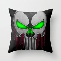 spawn Throw Pillows featuring Punisher Spawn Mash-Up by Joshua Epling