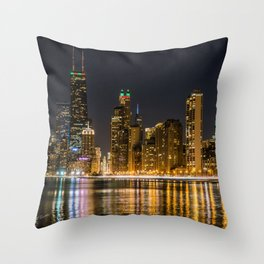 Chicago North Shore Skyline Night Throw Pillow