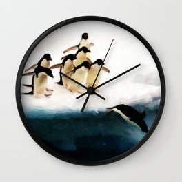 The Penguin Party - Painting Style Wall Clock