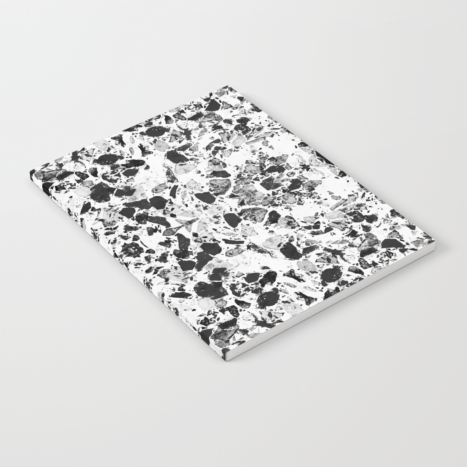 Beautiful Black And White Terrazzo Tile Notebook