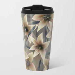 Lily. Grey beige floral pattern . Travel Mug
