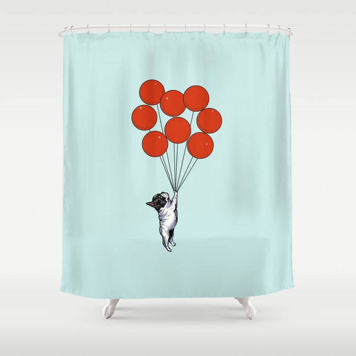 I Believe I Can Fly French Bulldog Shower Curtain By Huebucket