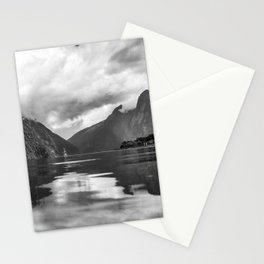 Black and White Milford Sound Stationery Cards
