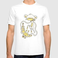 The Monkey and the banana Mens Fitted Tee MEDIUM White