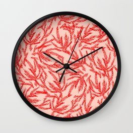 Red Coral Ferns Wall Clock