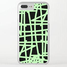 Black and neon green modern abstract pattern Clear iPhone Case