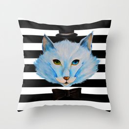 blue cat with hat Throw Pillow