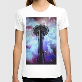 Space Needle - Seattle Stars Clouds Fog T-shirt