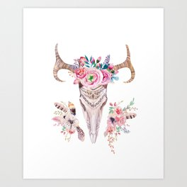 Deer skull with feathers and flowers Art Print