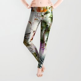 Abstract Motion Blur Floral Botanical Leggings