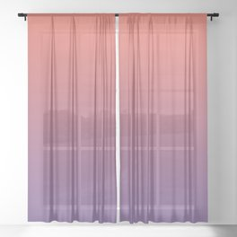 Pantone Living Coral & Chive Blossom Purple Gradient Ombre Blend, Soft Horizontal Line Sheer Curtain