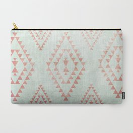 mint & coral tribal pattern Carry-All Pouch