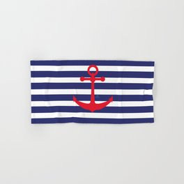 AFE Nautical Red Ship Anchor Hand & Bath Towel