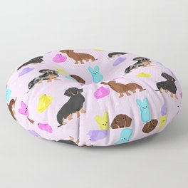 Dachshund dog breed peeps marshmallow treat easter spring doxie lover Floor Pillow