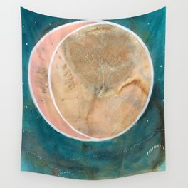 Pink Eco Print Moon Wall Tapestry
