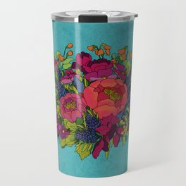 Wildflowers Bouquet in Blue Travel Mug