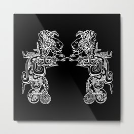 Maya Serpent Black Metal Print