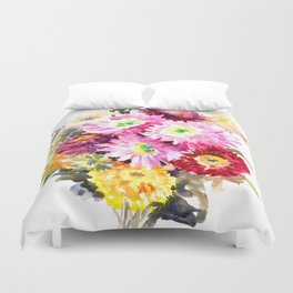 Flowers, Pink Red Yellow Floral design art Duvet Cover