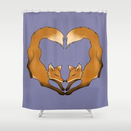 Heartful Foxes Shower Curtain