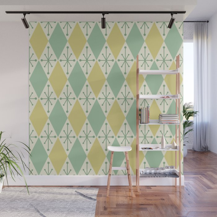 Diamonds and Starbursts Mint Wall Mural