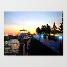 Night falls over lake Entrance Canvas Print