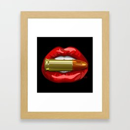 Biting The Bullet Red Lips on Black Framed Art Print
