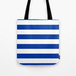 Dark Princess Blue and White Wide Horizontal Cabana Tent Stripe Tote Bag
