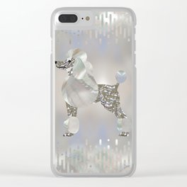 Luxury Pearl and Abalone Poodle Clear iPhone Case