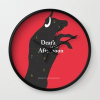 hemingway Wall Clocks featuring Ernest Hemingway book Cover & Poster - Death in the Afternoon by Stefanoreves